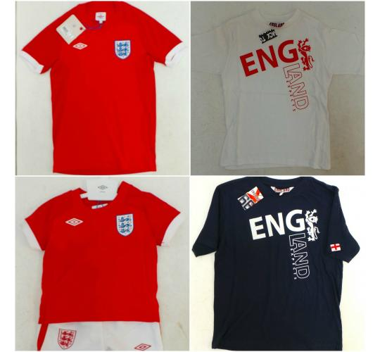 One Off Joblot of 19 Official England Boys Football T-Shirts & 2 England Tops