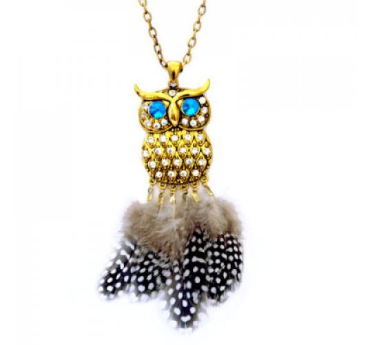 Wholesale 30PCS Owl Pendant Necklace with rhinestones and feathers - Must go - Clearance sale! - 006