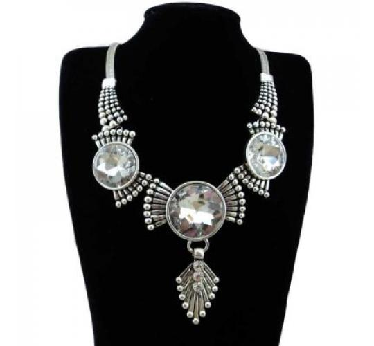 Wholesale 30PCS Rhinestone Silver Plated Statement Necklace - Clearance Sale - Must go! 010