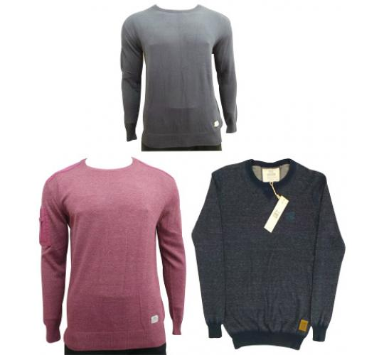Wholesale Joblot of 8 Crosshatch Mens Jumpers Mixed Styles Navy & Burgundy