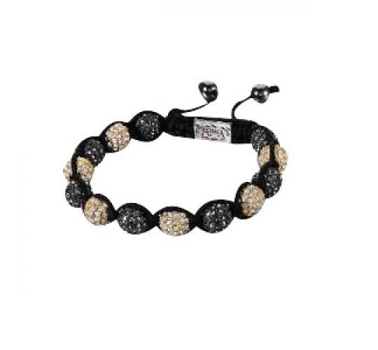 Joblot of 10 Shimla Bracelets Gunmetal & Gold Crystal Fireball Beads SH005 + 5S