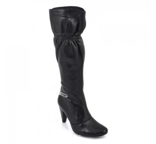 Wholesale Job Lot Gucinari Women's Black Leather Fabric Knee High Pointed Boot Stiletto Heel