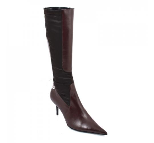 Wholesale Job Lot Gucinari Women's Brown Leather Fabric Knee High Pointed Boot Stiletto Heel