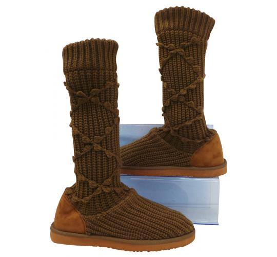 Wholesale Joblot of 10 Voi Jeans Womens Dendera Knitted Boot Chestnut Sizes 3-8