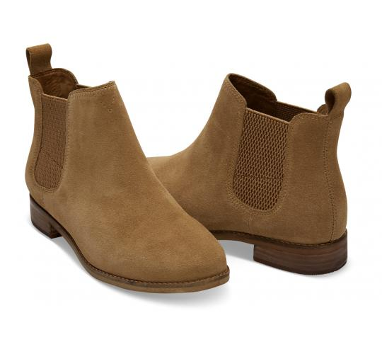 One Off Joblot of 4 TOMS Ella Suede Chelsea Boots Toffee Sizes 4-7.5