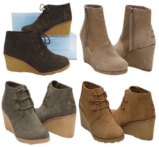 One Off Joblot of 6 TOMS Womens Suede Wedge Heel Boots 2 Styles Mixed Colours