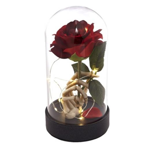 Joblot 10 X Brand New Enchanted Lighted Red Rose in Resin Skeleton hand
