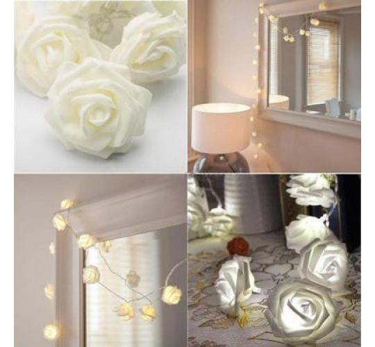 Joblot of 50 x 20 LED Warm White Flower Light - Rose Battery Operated Fairy String Light - Decorative Indoor Bedroom - Party Decor - Wedding - Gift -