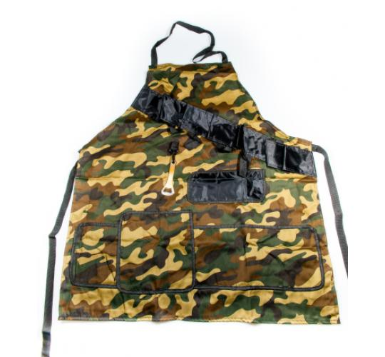 Joblot of 24 x BBQ Novelty Camouflage Apron - Bottle Opener Attached - Multi Pocket Kitchen Cooking Grill Apron - Men Gift Chef Outdoor
