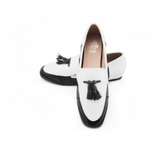 Whitney twin tassels black and white loafers