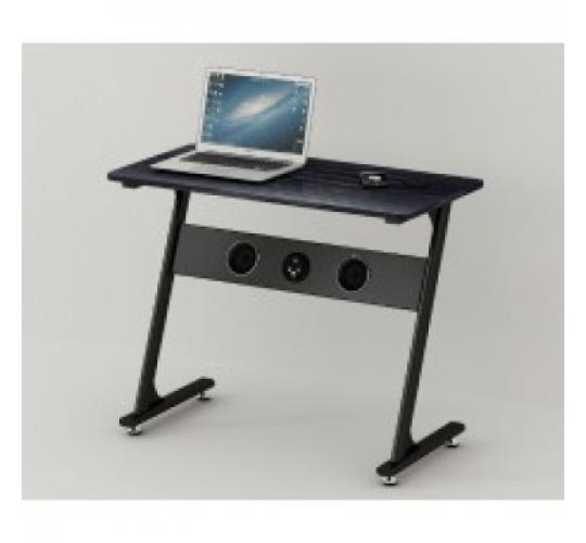 Computer desk with built in Bluetooth speakers and wireless recharge