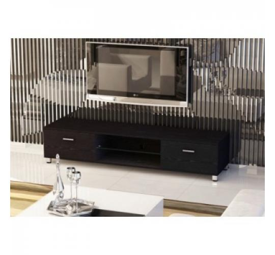 Black Gloss Slim Low Rise Painted Wood Effect TV Stand for TV sizes 32 to 70 inches