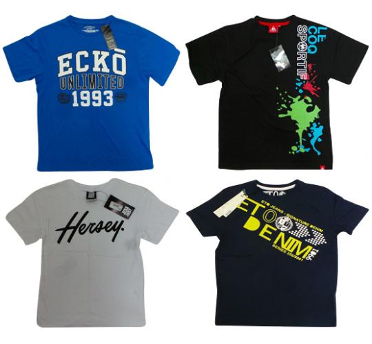 One Off Joblot of 11 Boys Branded T-Shirts - Ecko, Le Coq Sportif & More