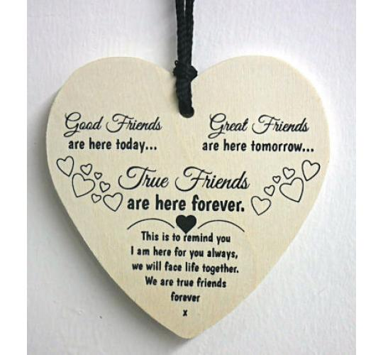 Friendship Best Friend  Plaque Gift Shabby Chic Wood Hanging Heart