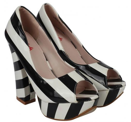 Wholesale Joblot of 10 Kat Von D Womens Nerola Striped High Heels White/Black