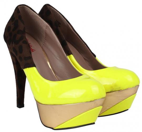 Wholesale Joblot of 10 Kat Von D Womens Credora Yellow Print High Heels