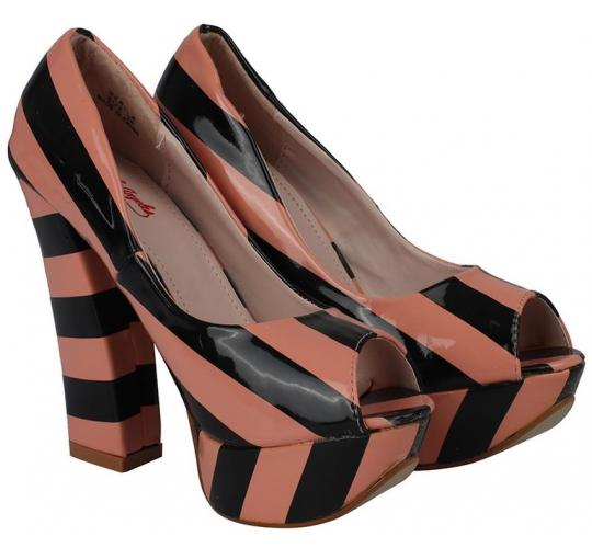 Wholesale Joblot of 10 Kat Von D Womens Nerola Striped High Heels Pink/Black
