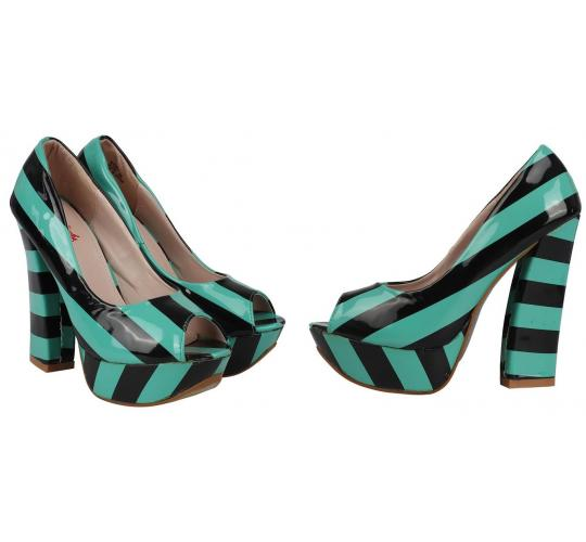 Wholesale Joblot of 10 Kat Von D Womens Nerola Striped High Heels Turquoise