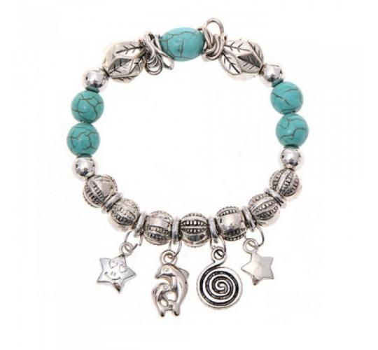 Wholesale Joblot of 9 Turquoise And Silver Bead Smiling Star Charm Bracelets
