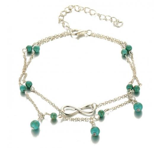 Wholesale Joblot of 10 Ladies Turquoise Bead And Infinity Symbol Double Anklets
