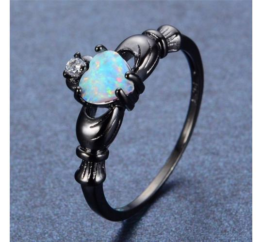 Wholesale Joblot of 10 Ladies Opal Claddagh Heart Ring