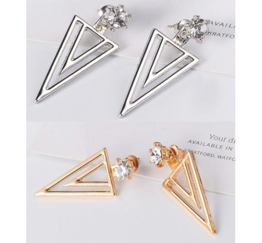 One Off Joblot of 11 Ladies Twice Triangle Jacket Earrings 2 Colours