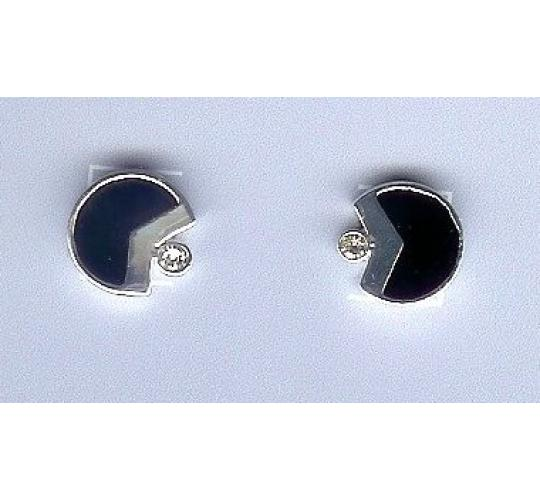 enamel and crystal silver-plated earrings