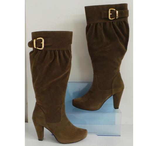 Wholesale Joblot of 5 Aruba Zapatos Ladies Long Suede Evening Boot Taupe