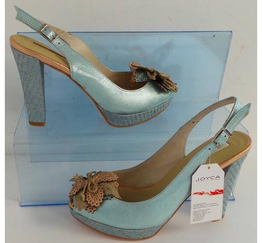 One Off Joblot of 8 Joyca Ladies Two-Tone Ice Blue Suede Evening Shoe Sizes 5-8