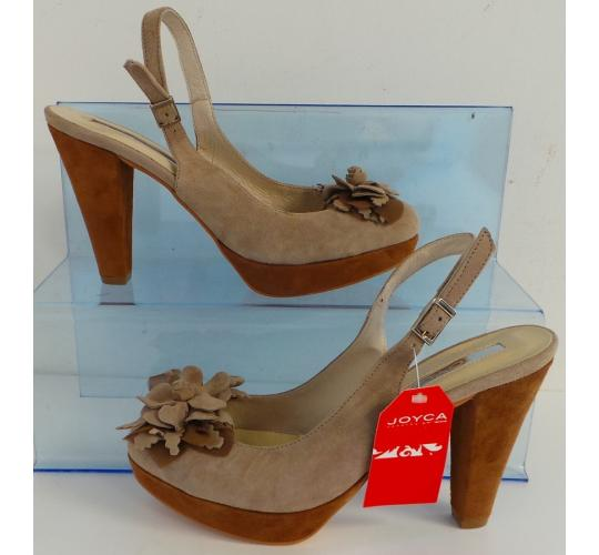 One Off Joblot of 9 Joyca Ladies Two-Tone Taupe Suede Evening Shoe Sizes 5-8