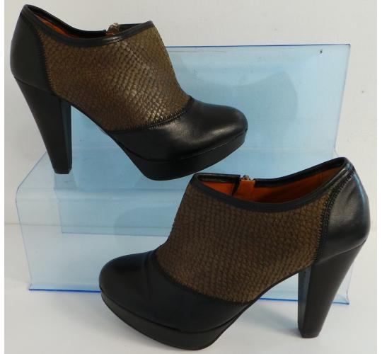One Off Joblot of 7 Joyca Ladies Black/Taupe Snakeskin Heels Sizes 3-8