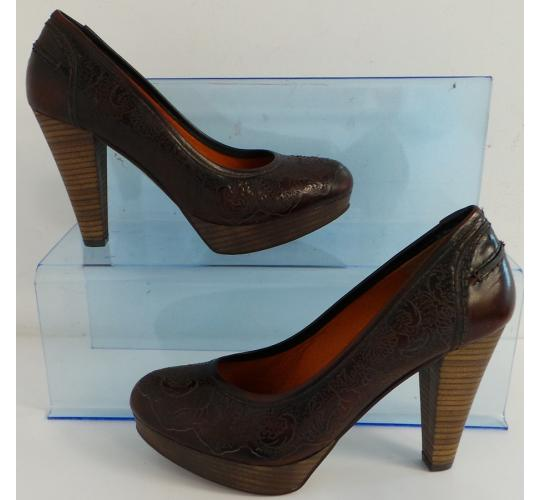 One Off Joblot of 6 Joyca Ladies Brown Leather Patterned Court Shoe