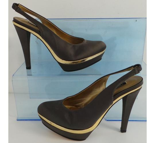 One Off Joblot of 6 Ladies Lorena Carreras Silvia Grey Satin Sling Back Heel