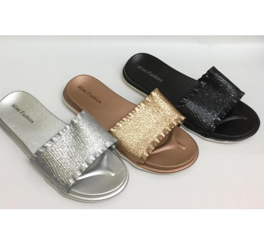 Wholesale Joblot of 35 Ladies Sliders Glitter Slip On Flat Mule Slippers Shoes