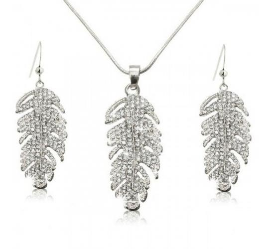 Wholesale Joblot of 10 Womens Feather Cut Jewellery Sets Earrings & Necklace
