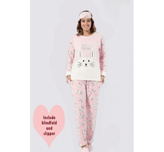 Joblot of 20x Ladies PJ Sets(Inc.Blindfold&Sleeper) 5 Designs Fleece-Polar 4 pcs PJ Sets