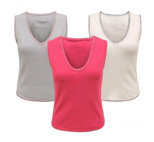Wholesale Joblot of 18 Ladies V Neck Sleeveless Casual 100% Cotton Top