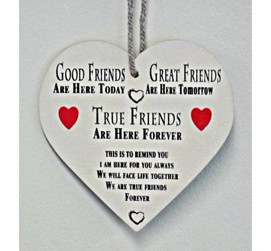 20 Friendship Best Friend Plaque Gift Shabby Chic Wood Hanging Heart pl102