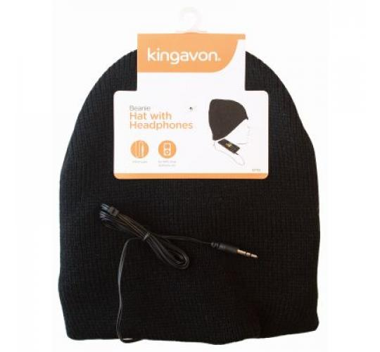 48 X WINTER BEANIE HAT WITH HEADPHONES 3.5MM JACK
