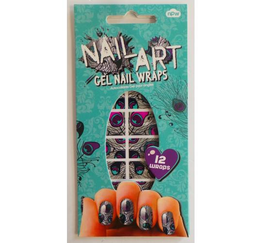 Wholesale Joblot of 100 NPW Nail Art Gel Nail Wraps Peacock (12 Wraps in Each)