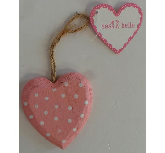 Wholesale Joblot of 100 Sass & Belle Polka Dot Heart Hanging Decoration Pink