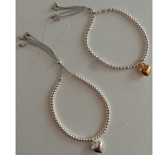 Wholesale Joblot of 20 Lisa Angel Ladies Heart Pendant Bracelet Silver & Gold
