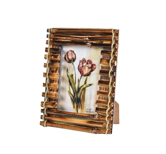ARPAN 4'' x 6'' Vintage Style Traditional Rustic Wooden Bamboo Photo frame Ideal Gift - CL-9651