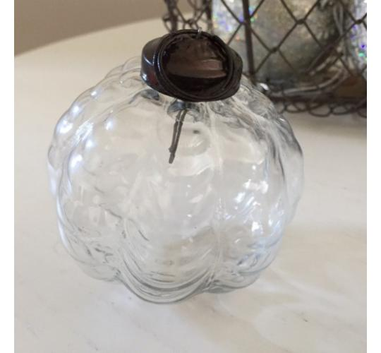 "60 x Clear Pumpkin Shape 3"" Glass Christmas Bauble"