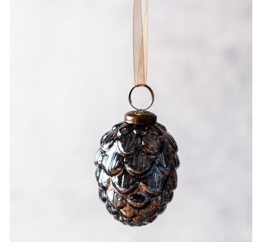 "60 x Blue Fir Cone Shape 3"" Glass Christmas Bauble"
