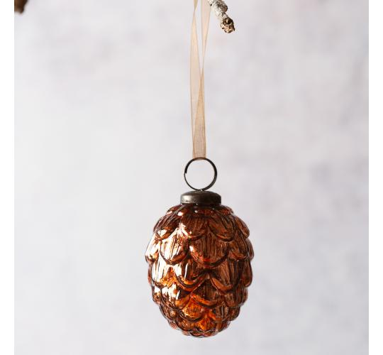 "60 x Copper Fir Cone Shape 3"" Glass Christmas Bauble"