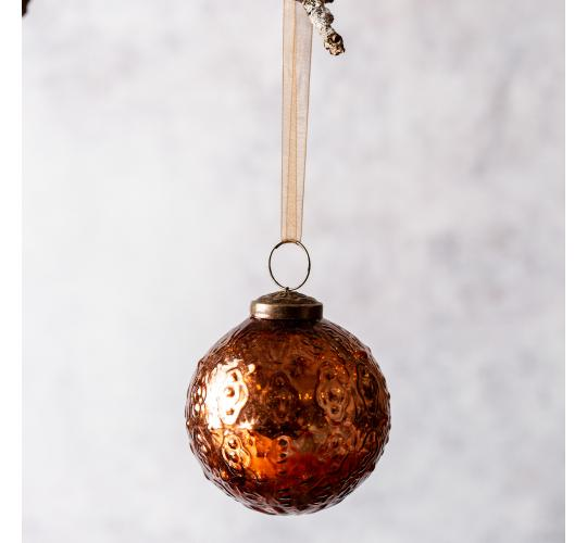 "60 x Copper Round 3"" Glass Christmas Bauble - Indian Design"