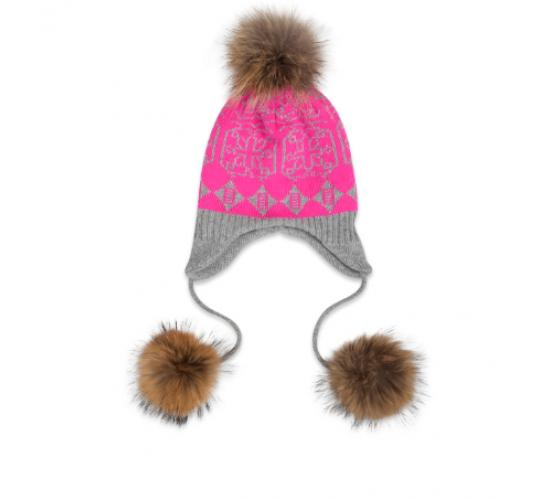 Sommerville 100% Cashmere Job Lot Of 10 Pink/Grey Patterned Eskimo Hats With Fur Pom Poms  One Size Brand New No Tags