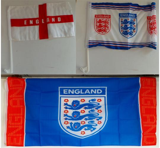 Wholesale Joblot of 100 England Car & Body Flags Mixed Designs