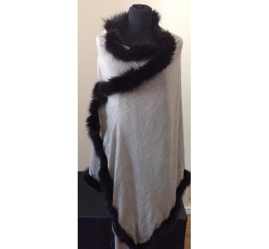 Job Lot Of Scarves 2 Black & 2 Navy With Fur Pom Poms , 1 Grey With Black Fur Trim & 1 Grey With Fur Grey Trim
